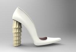 zapatos blanco y dorado