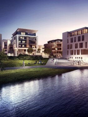 Blick vom PHOENIX See auf Port 13 | Visualisierung: Interboden Innovative Lebenswelten GmbH & Co. KG