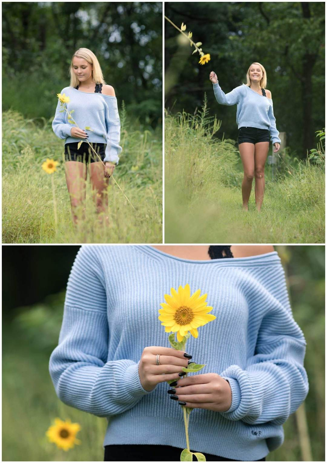 Outdoor senior portrait in field with sunflowers