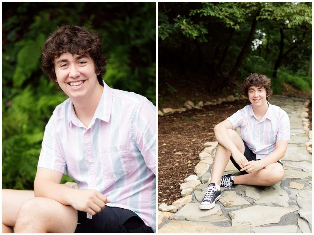 graduation pictures on stone pathway