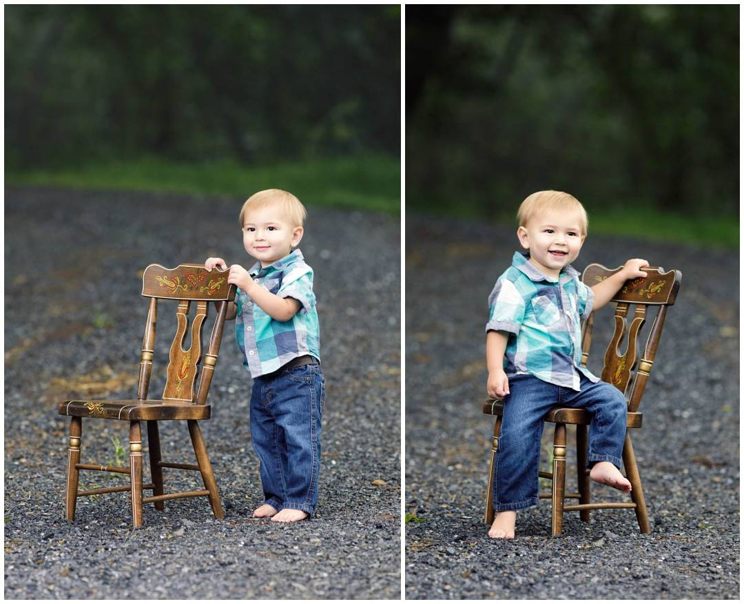 Outdoor kids portraits on stones with chair
