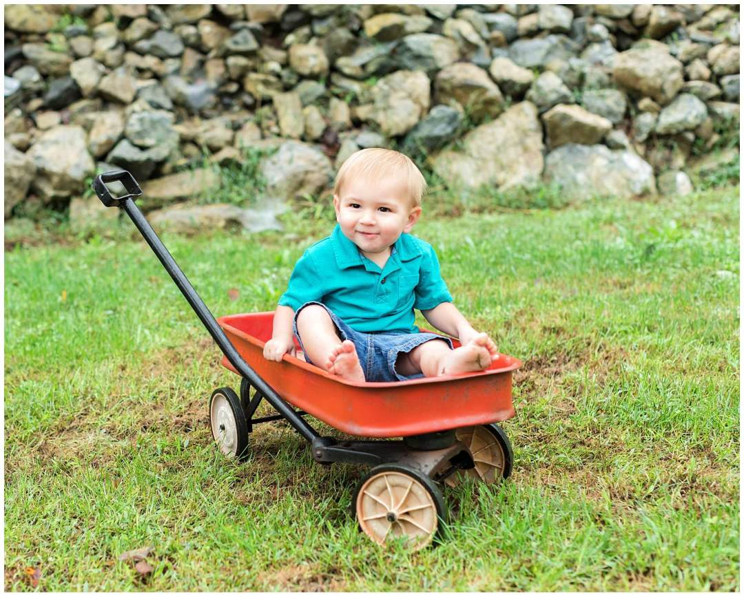 Outdoor kids portraits in wagon with stone wall background