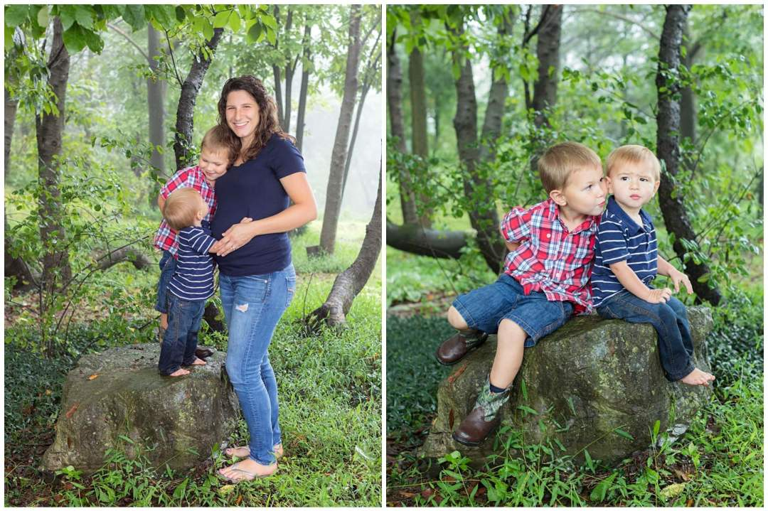 Outdoor kids portraits in woods with mother