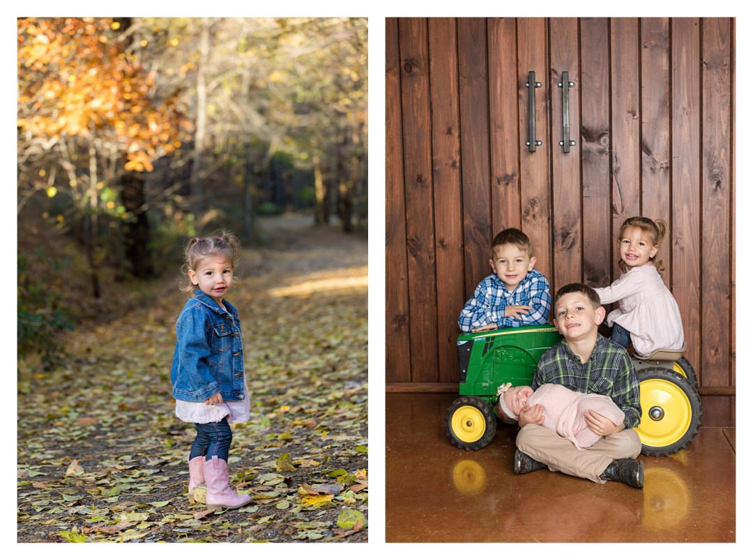 sibling newborn photo with tractor