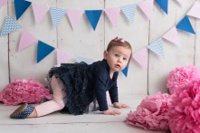 birthday girl crawling pink navy