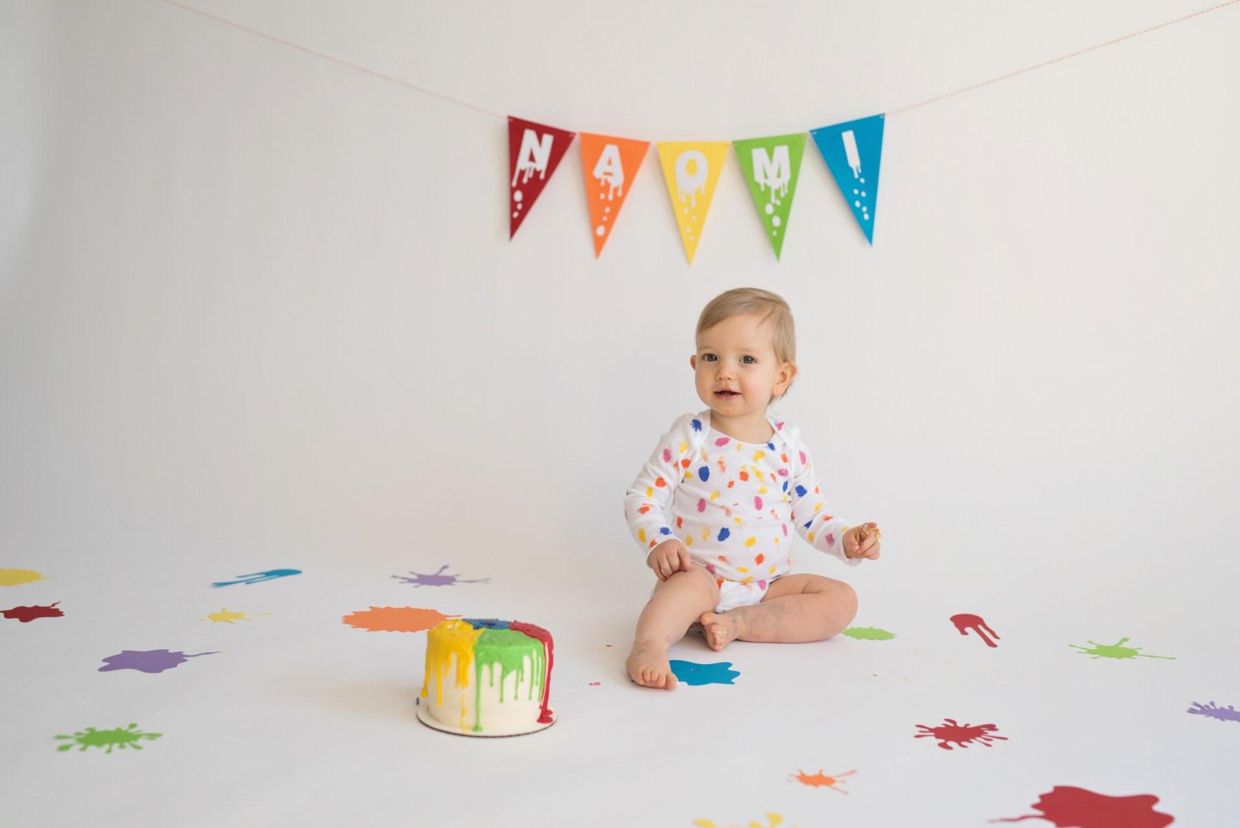 cake smash primary color baby girl