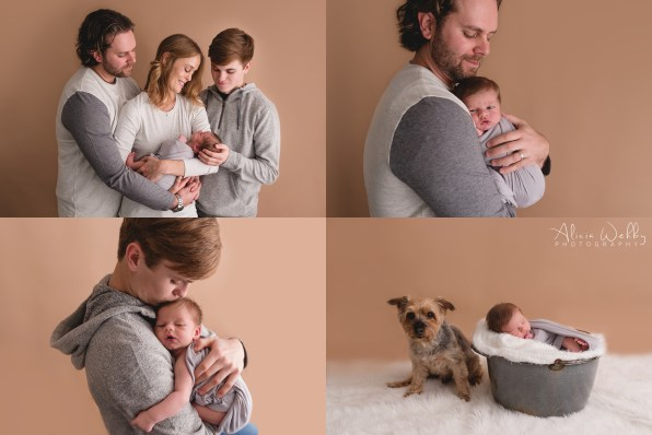 Baby boy with brother and dog