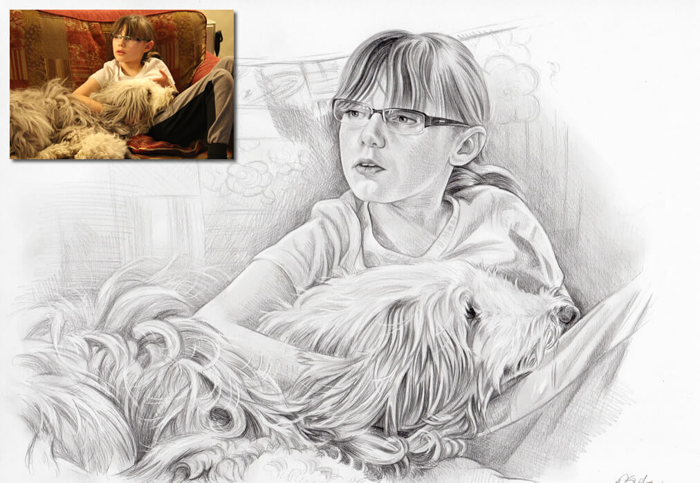 drawing of child and dog