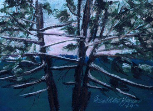 """Hemlocks, Snowy Morning"", pastel on Coulourfix sanded pastel paper, 7.5"" x 10.5"" © Bernadette E. Kazmarski"