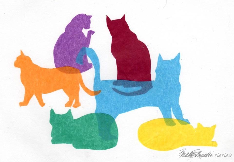 "The original artwork for ""Colorful Kitties""."