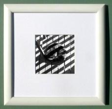 """Stripes on Stripe, 4"""" x 4"""", white frame"""