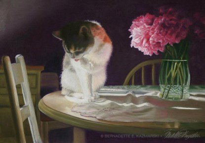 """Peaches and Peonies"", pastel, 23"" x 17"", 2008 © Bernadette E. Kazmarski"
