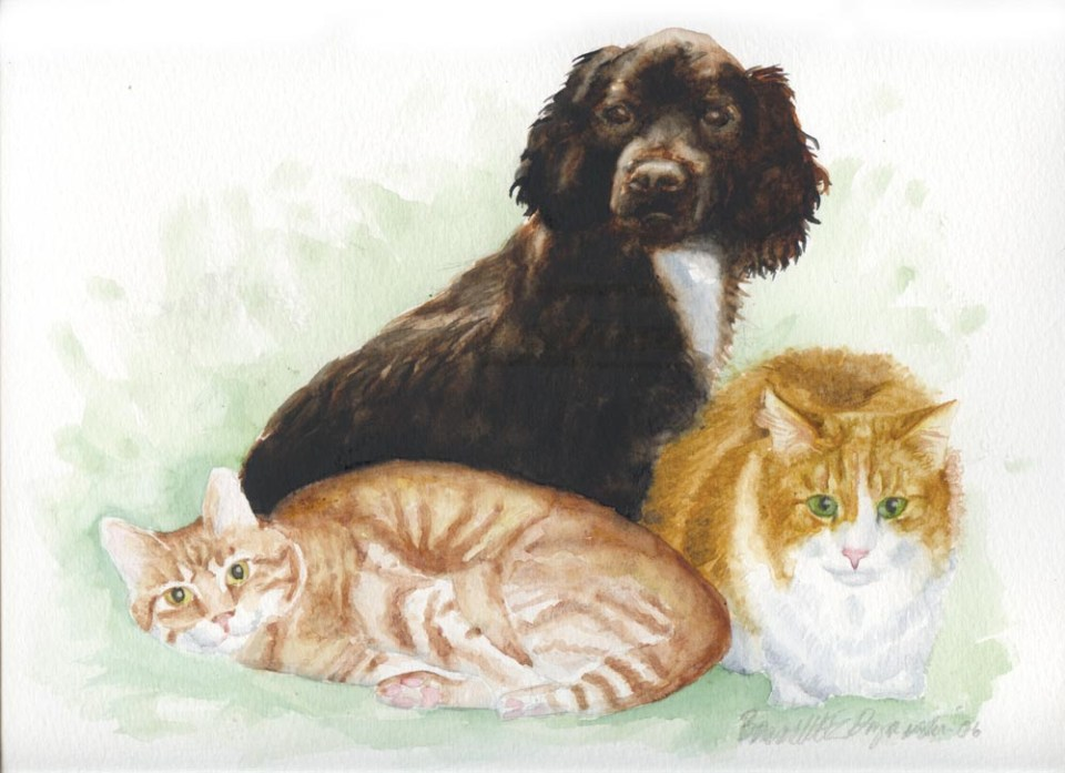 """The Washburn Trio"", 14"" x 11"", watercolor, a Mothers' Day gift, 2006."