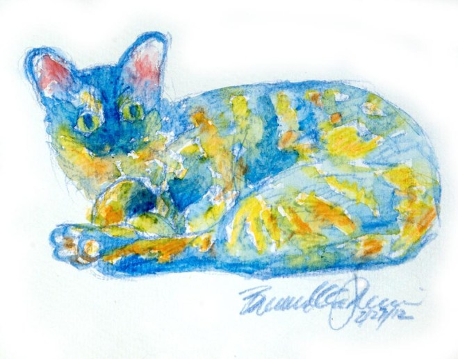 """Colorful Kelly"", 5 x 7, watercolor pencils © Bernadette E. Kazmarski"