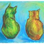 """Two Cats After van Gogh"", oil pastel, 6"" x 5"" © Bernadette E. Kazmarski"