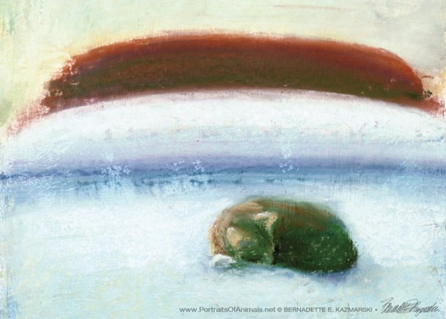 """Afternoon Nap"", pastel on hand-finished paper, 7.5"" x 7.5"", 2004 © Bernadette E. Kazmarski"