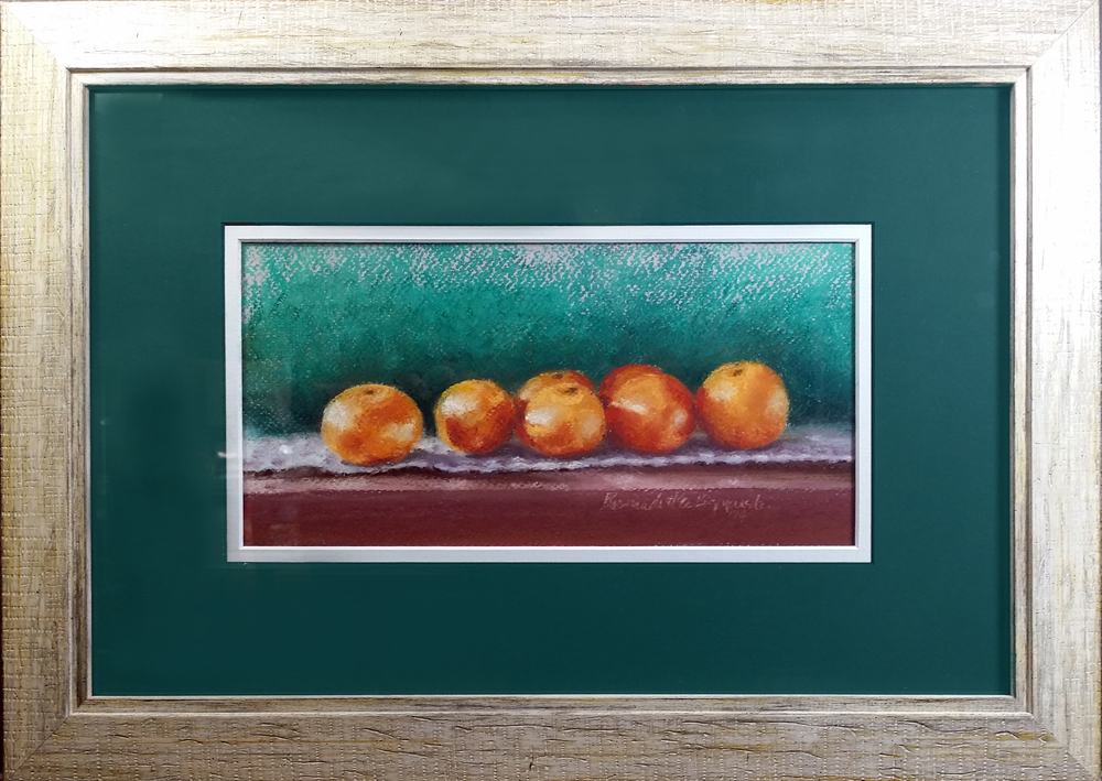 Clementines, pastel, 10″ x 5″ © Bernadette E. Kazmarski