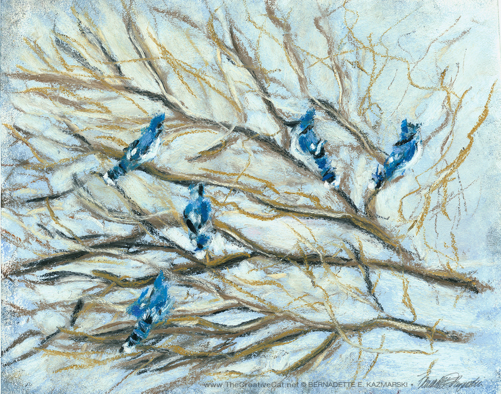 """Jammin Jay Blues"", pastel, 6 x 6 © Bernadette E. Kazmarski"