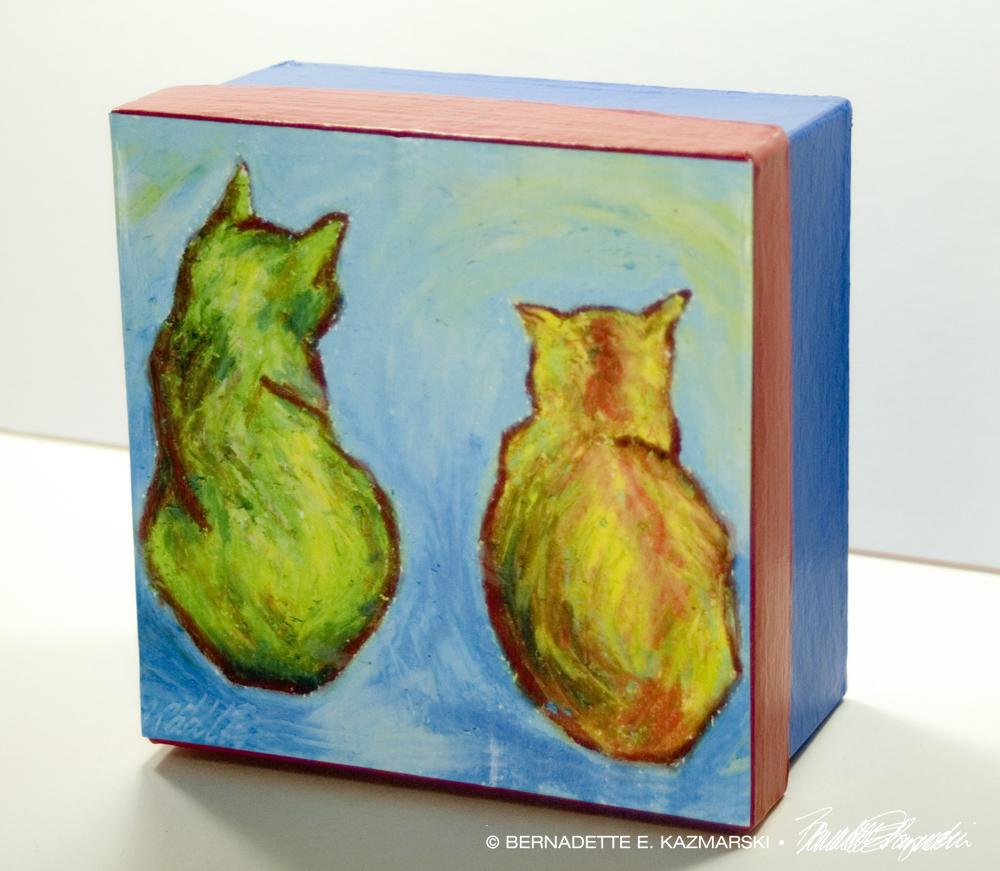 Front view Two Cats After van Gogh Keepsake Box