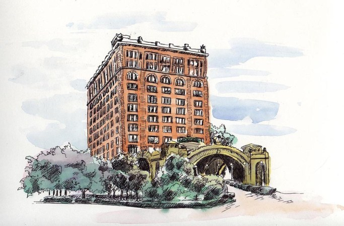 Pittsburgh's Pennsylvania Station, ink and watercolor, 8 x 10, 2006 © Bernadette E. Kazmarski