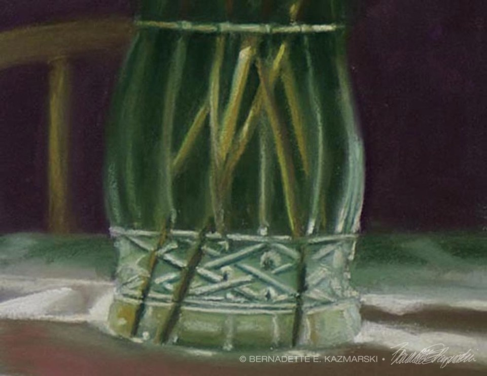 Detail of vase, Peaches and Peonies.