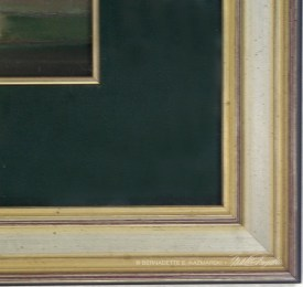 Detail of mat and frame, Peaches and Peonies.
