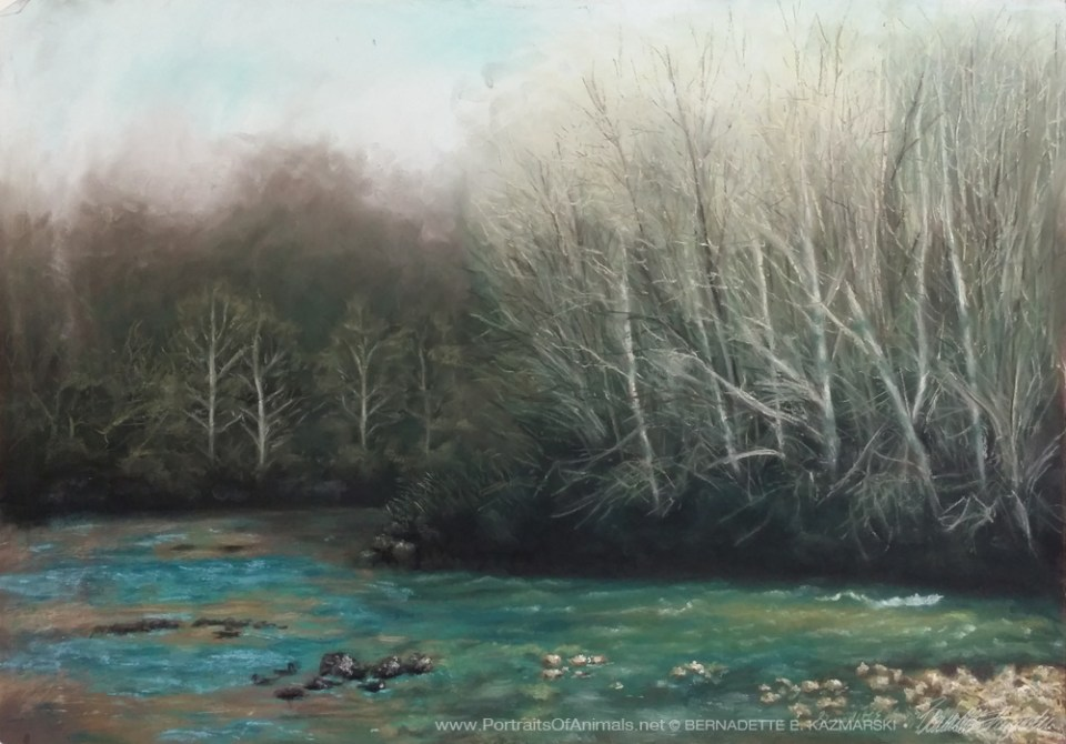 """Spring Comes to a Bend in the Creek"", 26"" x 19"", pastel on sanded paper © Bernadette E. Kazmarski"