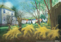 """Spring Cleaning"", pastel on self-prepared board, 14"" x 20"", 2006 © Bernadette E. Kazmarski"