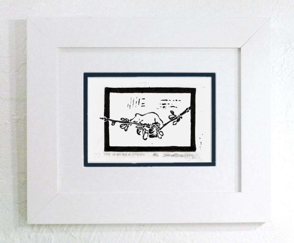 D. White frame, double matted print, black only print