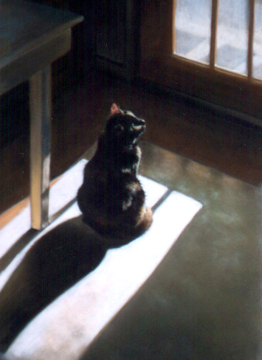 """The Little Sunflower"", pastel on velour paper, 11″ x 16″, 1997 © B.E. Kazmarski"