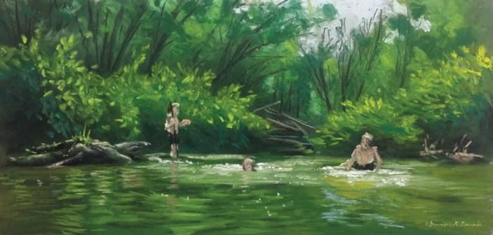 """The Swimming Hole"", pastel, 17 x 8, 2014 © Bernadette E. Kazmarski"