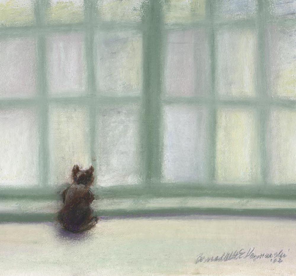 Winter Window, pastel, 8″ x 8″, 2002 © B.E. Kazmarski