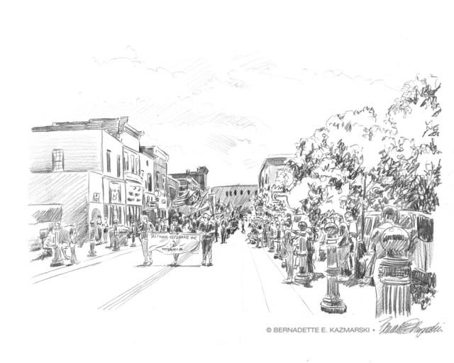"""""""Memorial Day Parade"""", 12″ x 18″, pencil, 2008 © Bernadette E. Kazmarski"""