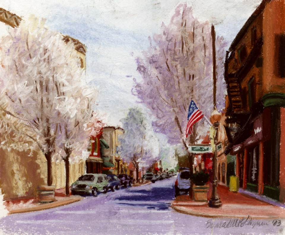"""Pear Trees on Main Street"", pastel, 12″ x 10″, 2003 © Bernadette E. Kazmarski"