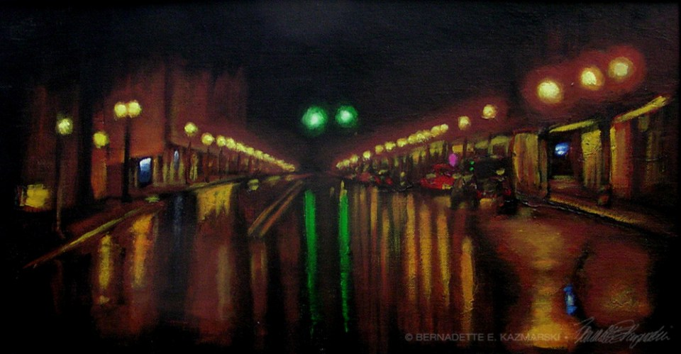 """Rainy Night on Main Street"", acrylic, 24″ x 12″, 2007 © Bernadette E. Kazmarski"