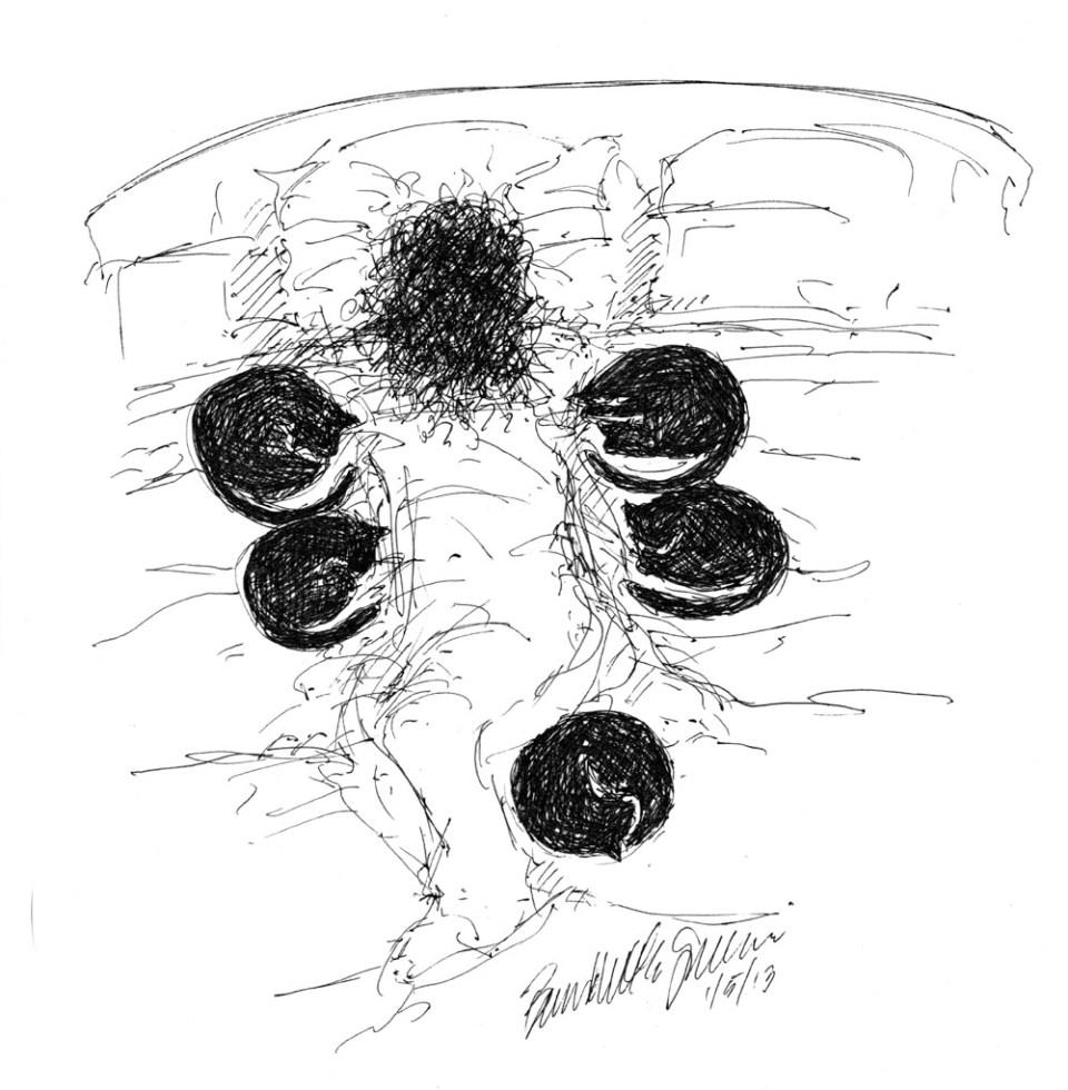 """Feline Punctuation"", ink drawing pen, 6.5"" x 7"" © B.E. Kazmarski"