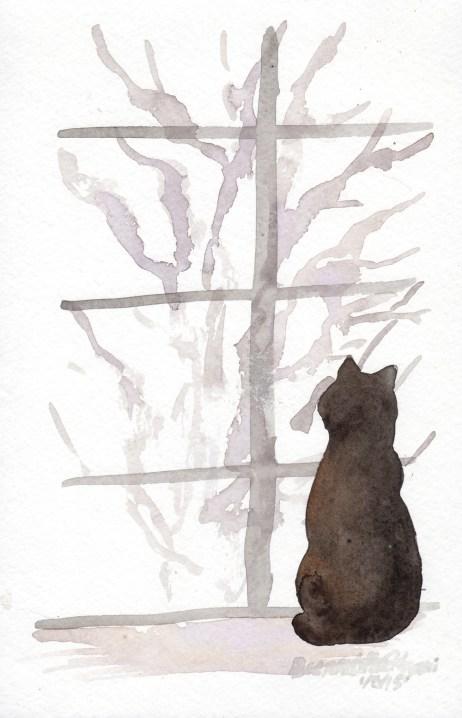 """Snowy Morning"", watercolor, 5.5"" x 8.75"" © Bernadette E. Kazmarski"