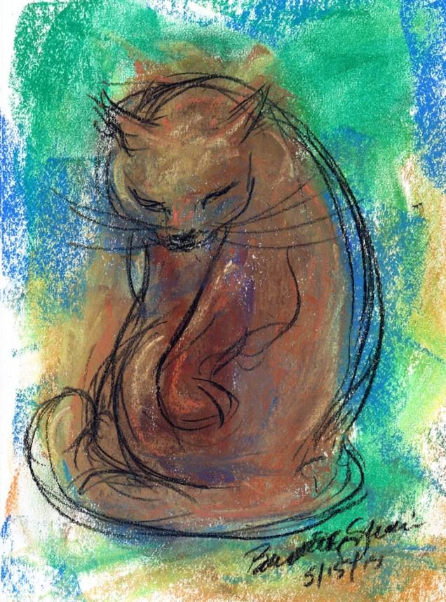 """Swirling Bath"", pastel, 7"" x 10"" © Bernadette E. Kazmarski"