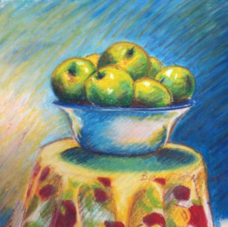 Green Apples, oil pastel, 12 x 12, 1998 © Bernadette E. Kazmarski
