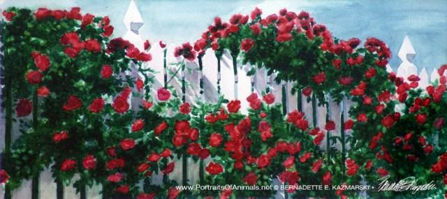 "Red Climbers, watercolor, 6.5"" x 14.5"" , 1998, Bernadette E. Kazmarski"