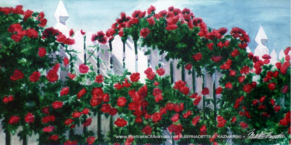 Red Climbers, watercolor, 7 x 14 print or canvas.