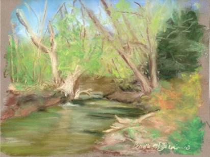 """Robinson Run in Spring, 10"""" x 8"""", pastel © Bernadette E. Kazmarski"""