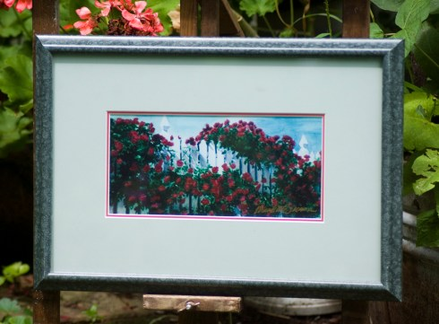 """""""Red Climbers"""" 4.5"""" x 9.5"""" print in 10"""" x 15"""" frame."""