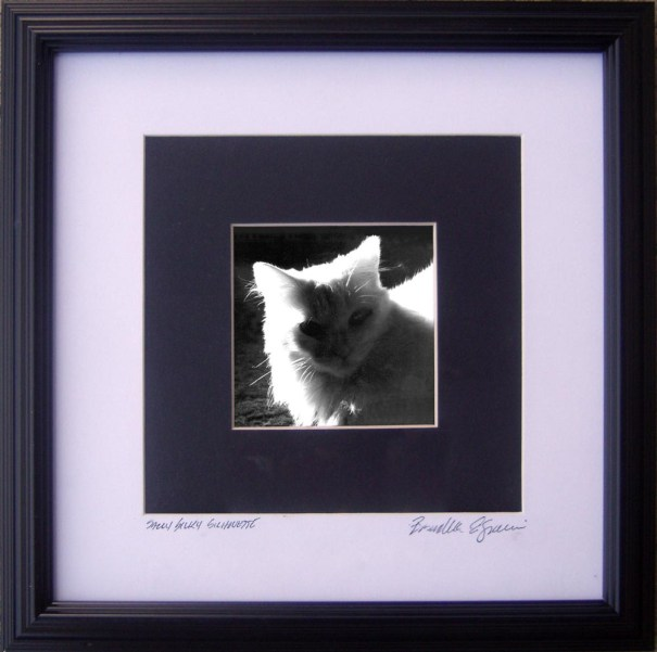 """""""Sally Silhouette"""", 3"""" x 3"""" photo matted and framed to 8"""" x 8""""."""