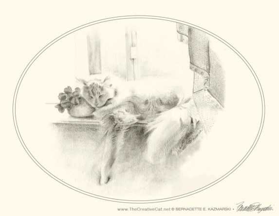 """Sleeping Beauty note card on cream cotton cover from """"Feline Pencil Sketches"""""""