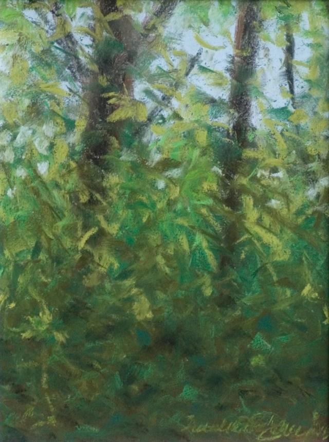 """""""Spring Morning Leaves"""", pastel, 9"""" x 12"""" © Bernadette E. Kazmarski"""