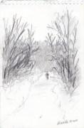 "Thanksgiving Walk, 5"" x 7"", pencil © Bernadette E. Kazmarski"