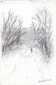 "Thanksgiving Walk, 5"" x 7"", pencil © Bernadette E. Kazmarski"