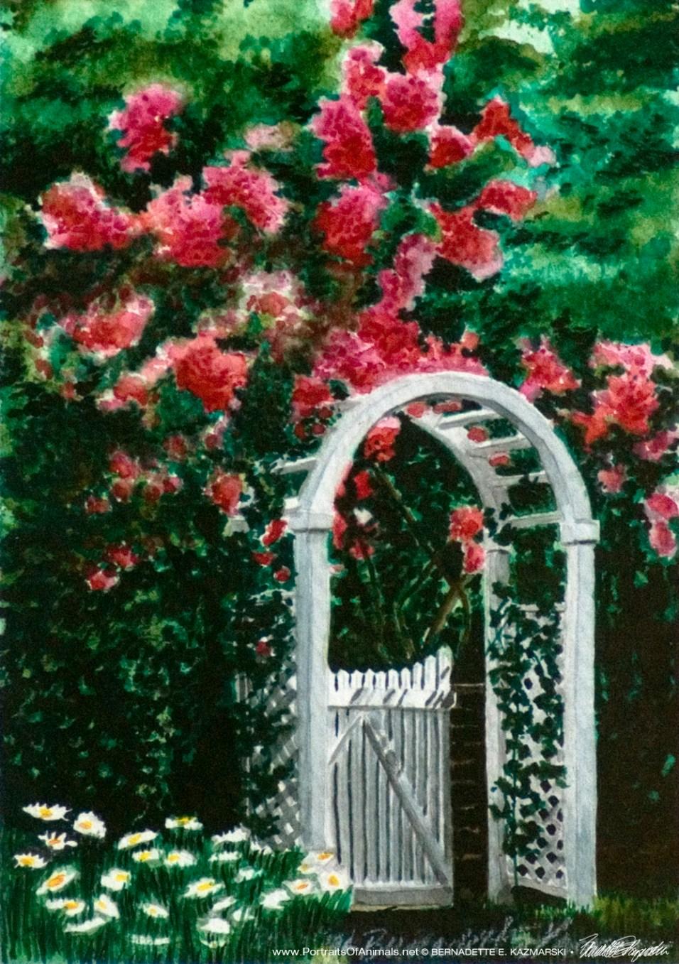 The Garden Gate, Watercolor, 5 x 7, 1994