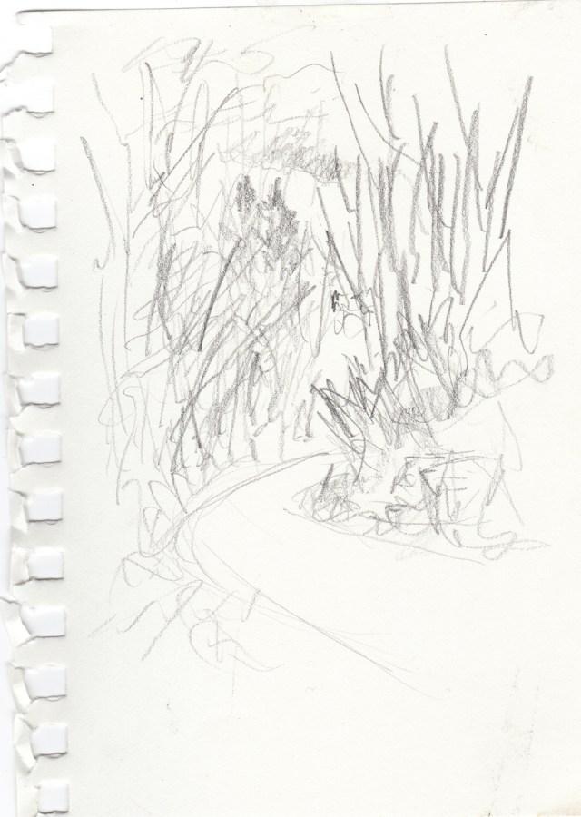 "Trail Sketch, 4"" x 6"", pencil © Bernadette E. Kazmarskiu."